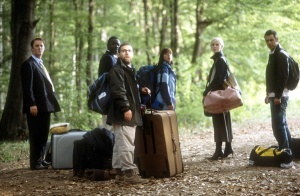 Tim McInnerny, Babou Ceesay, Andy Nyman, Claudie Blakely, Laura Harris and Danny Dyer in SEVERANCE